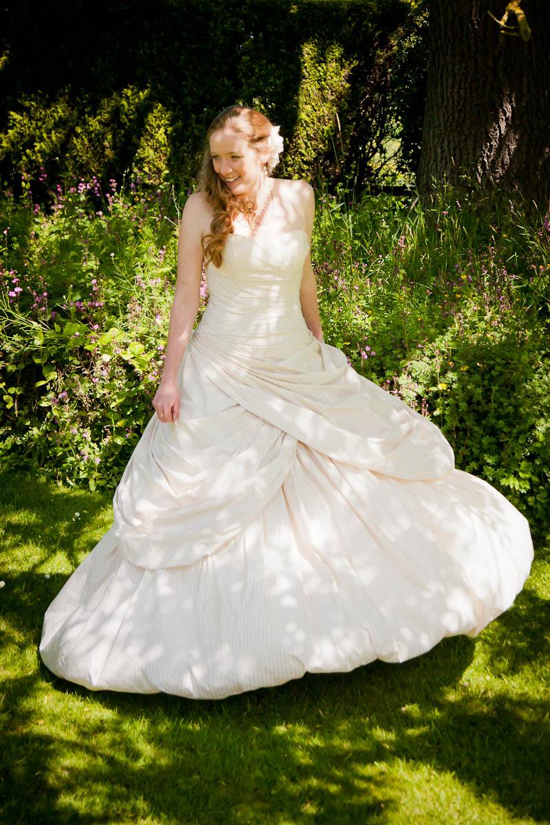 bride in dappled shade