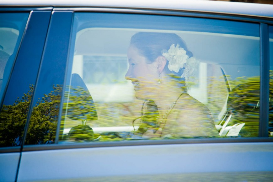 bride in car