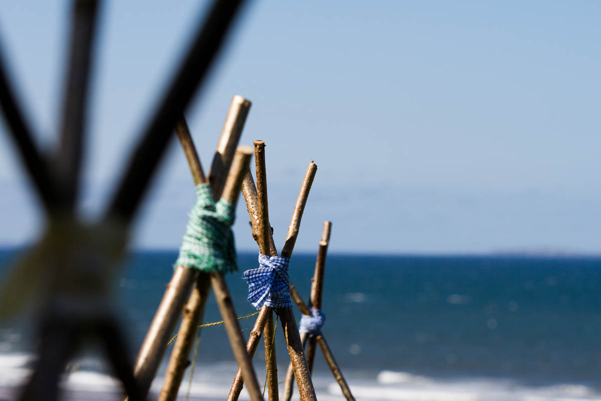 decorations and the sea at beach wedding