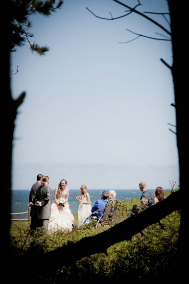 wedding ceremony on beach through trees