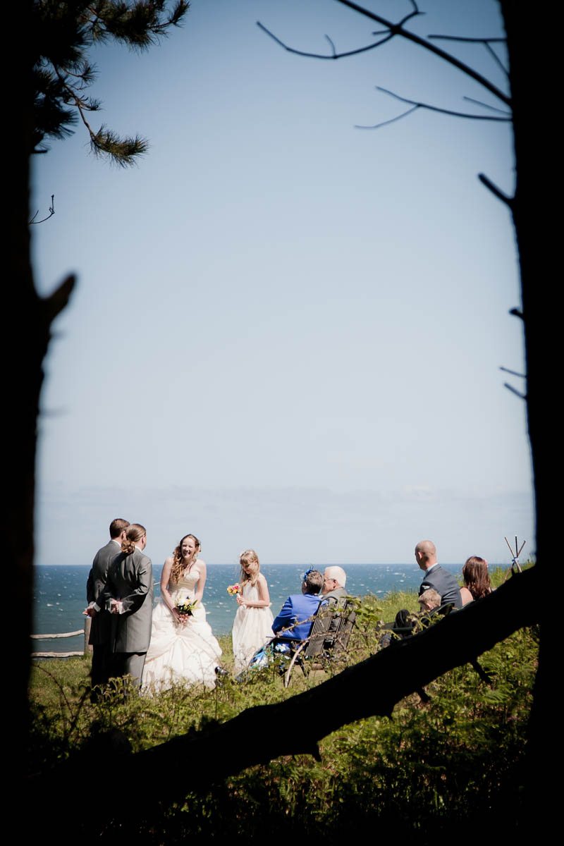 wedding ceremony on beach through trees