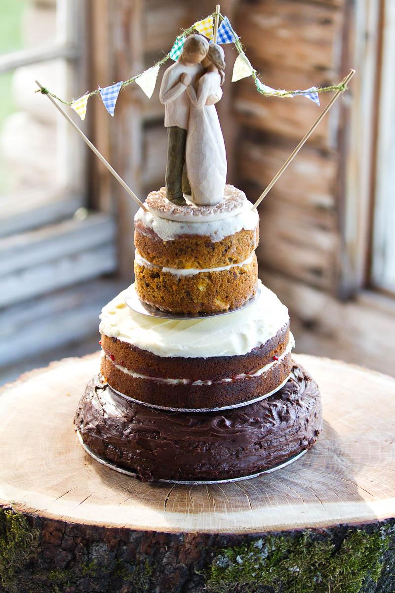 quirky homemade wedding cake