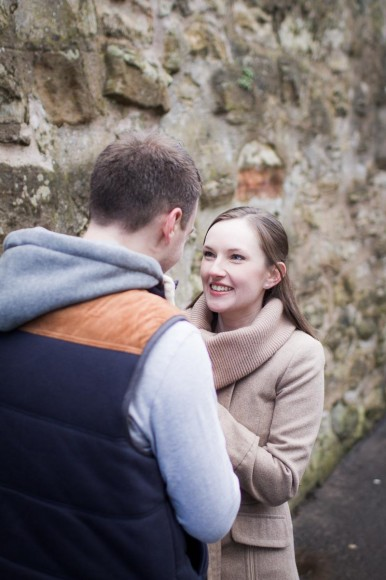 engagement photography st andrews gazing at one another