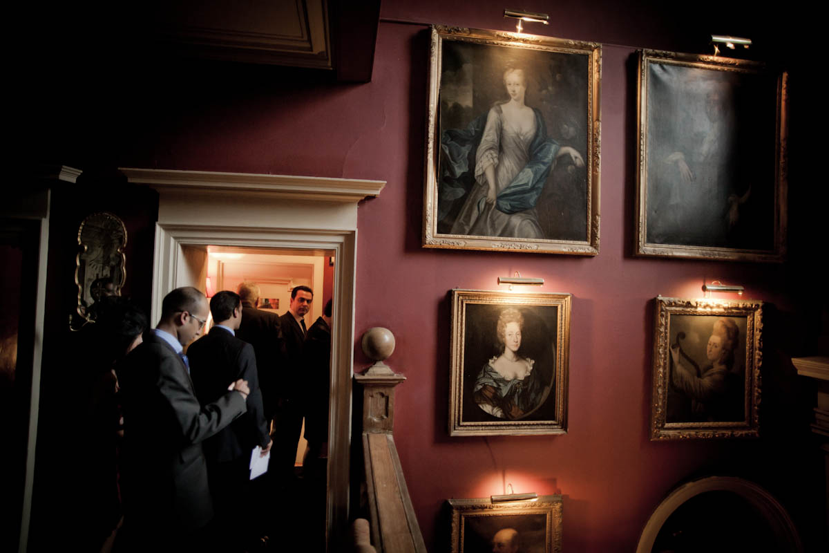 wedding guests and paintings at prestonfield house in edinburgh