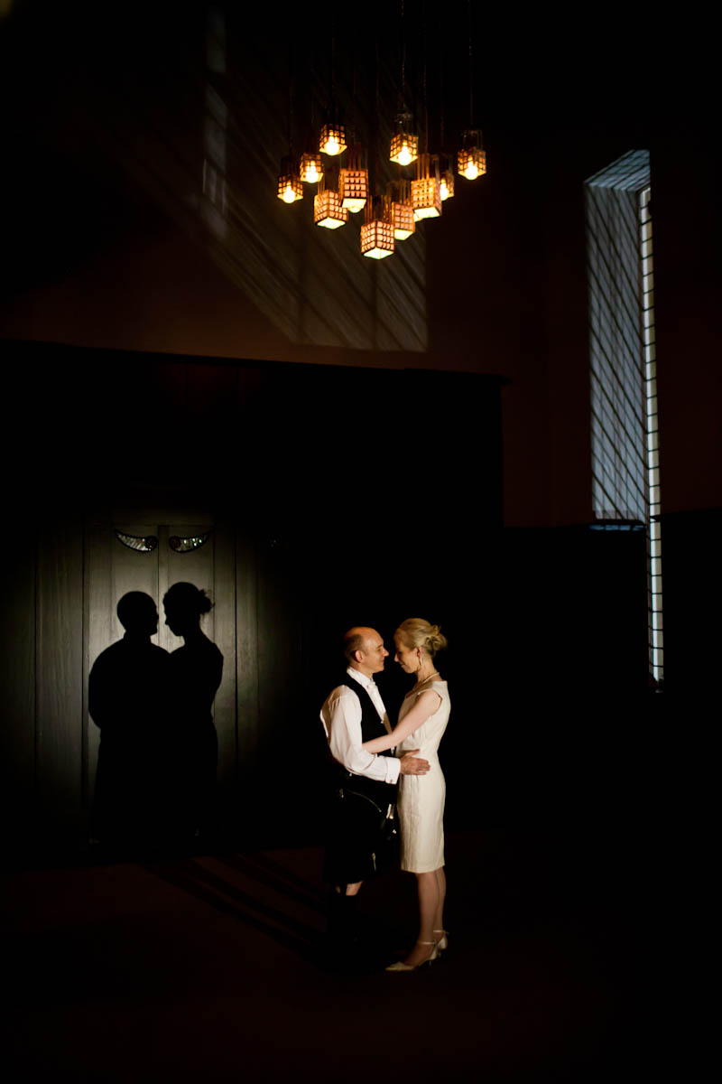 bride and groom at house for an art lover