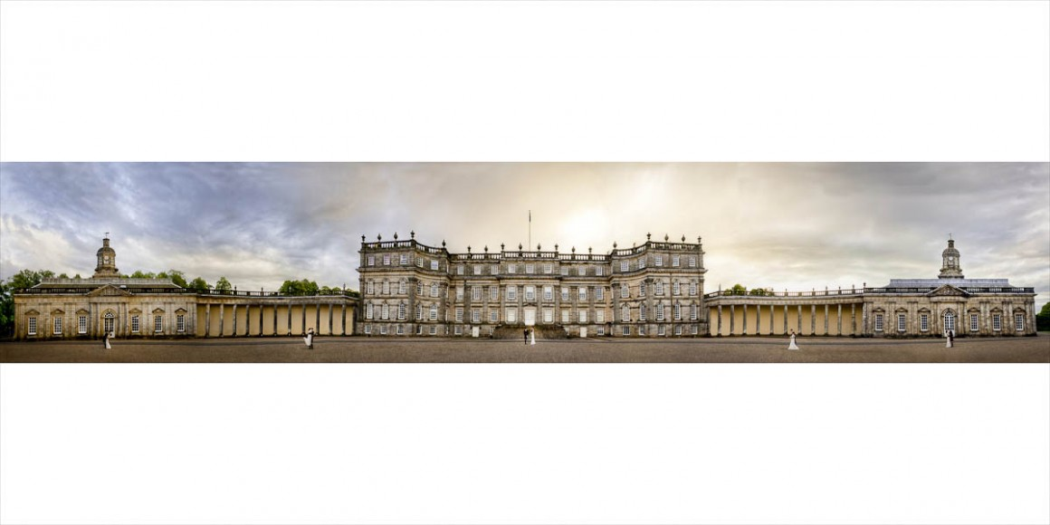 Panoramic shoot of Bride and Groom outside Hopetoun House