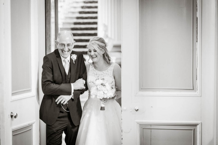 bride and father entrance at wedding at signet library edinburgh