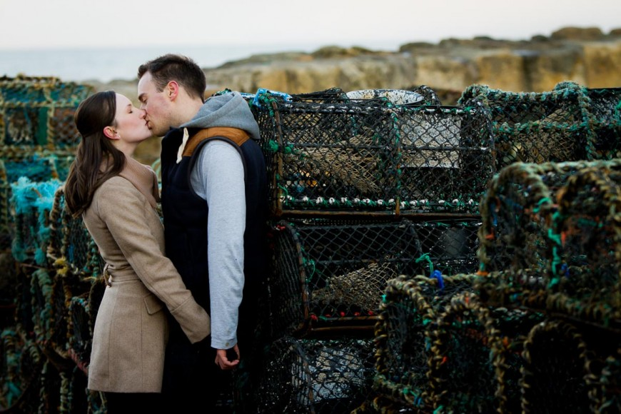 engagement photography st andrews beach harbour crab crates