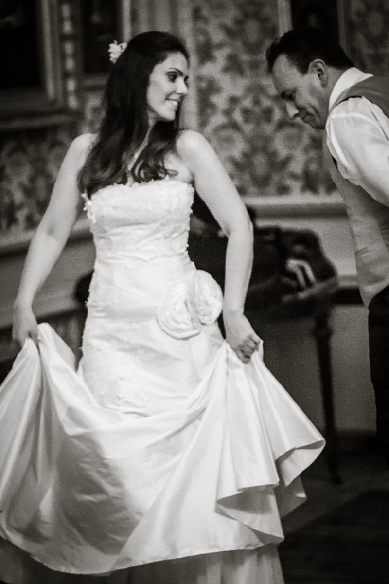 bride and groom dance at wedding at drummuir castle black and white