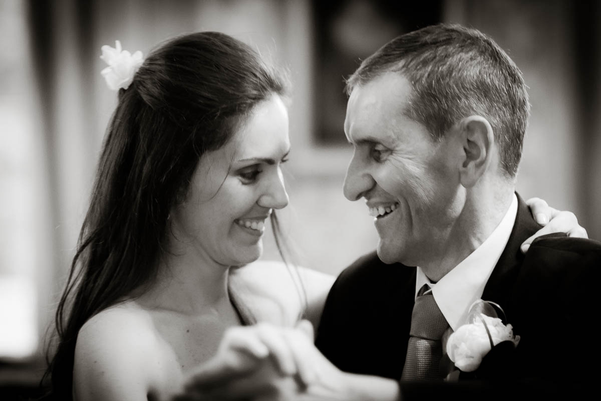 bride and father dance at wedding ceilidh at drummuir castle