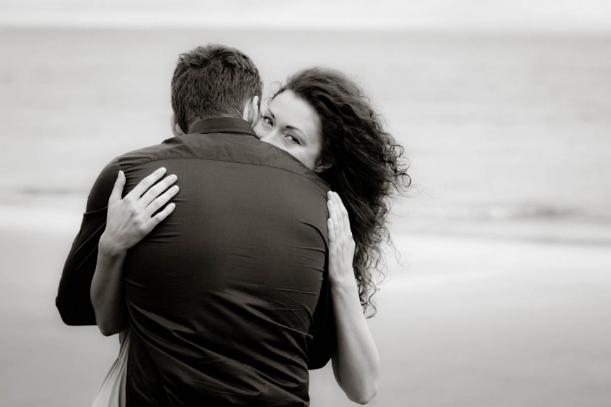engagement photography portobello beach look over shoulder