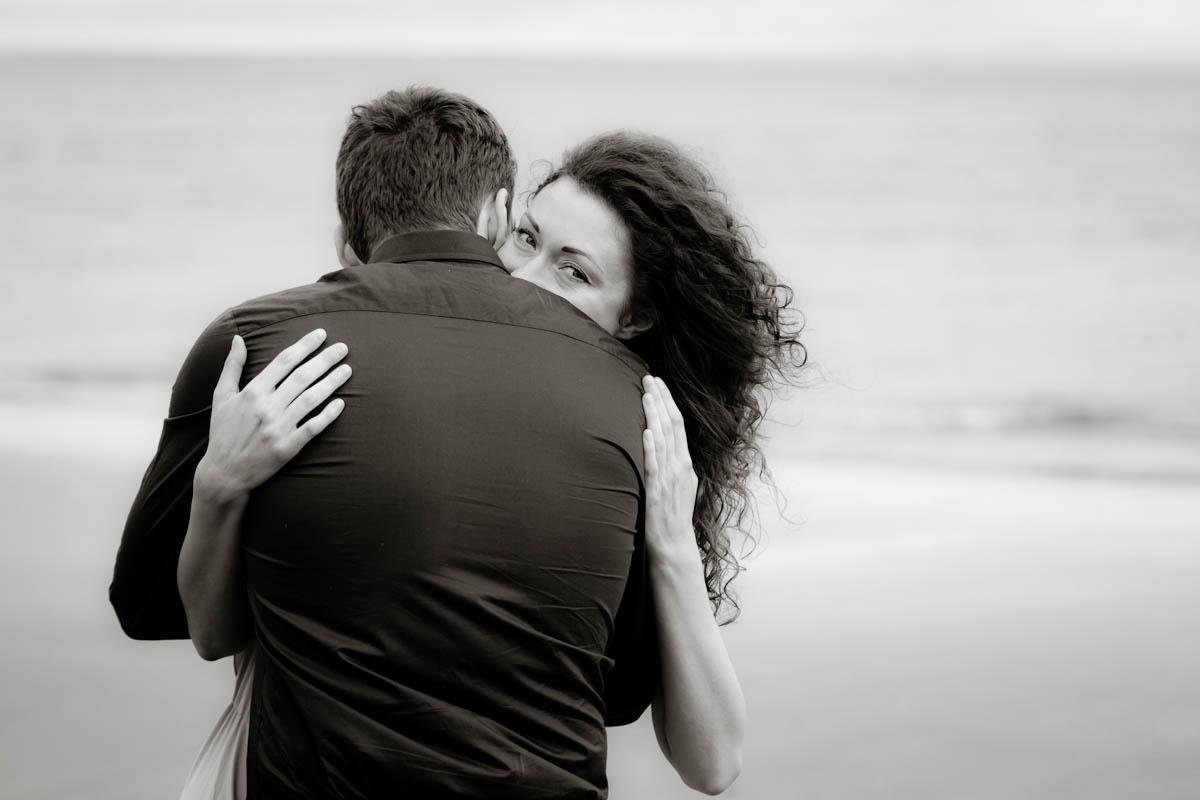 engagement photography portobello beach look over shoulder
