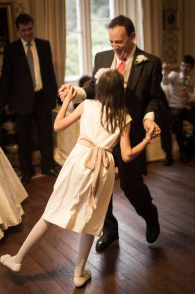 child ceilidh dancing at wedding at drummuir castle