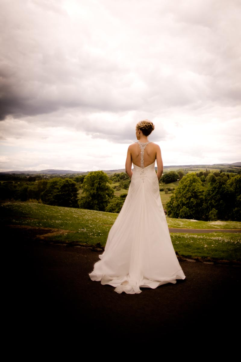bride admires view outside