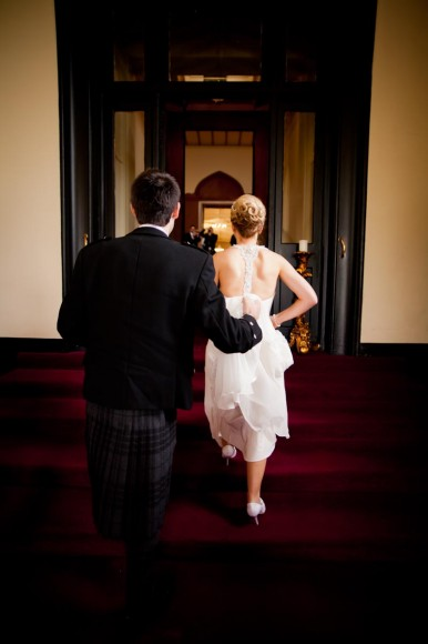 bride and groom arrive at mar hall