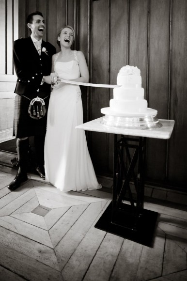 wedding cake cut with sword