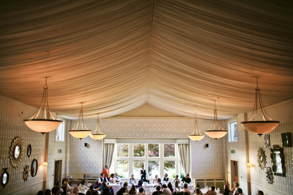 wedding speech in marquee at mar hall glasgow
