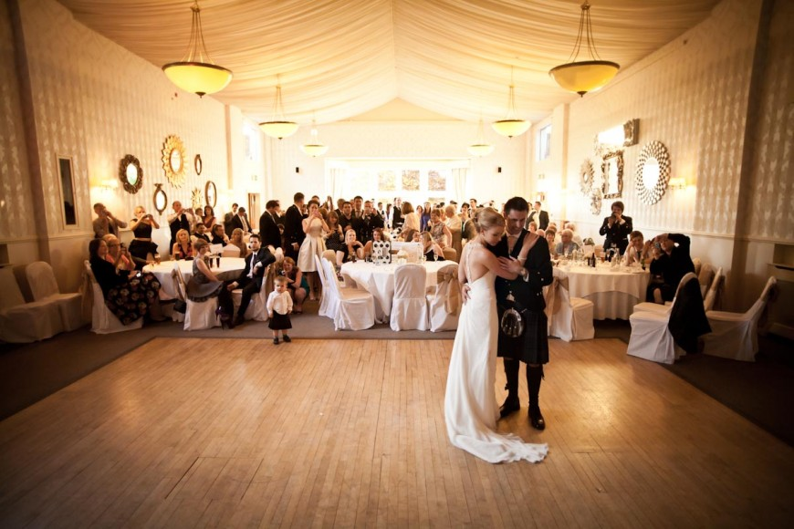 bride and groom first dance at mar hall glasgow
