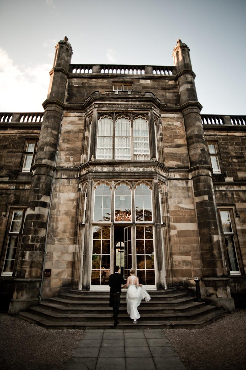 bride and groom enter mar hall glasgow