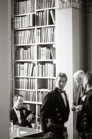 men at wedding in signet library edinburgh black and white