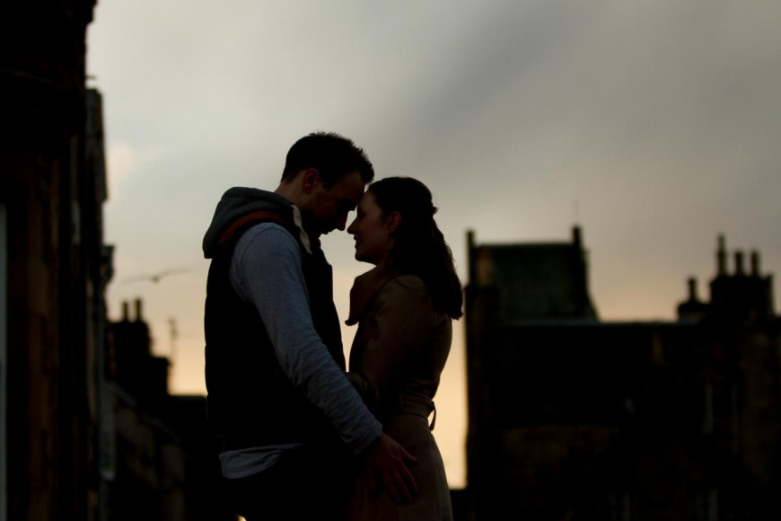 engagement photography st andrews at dusk