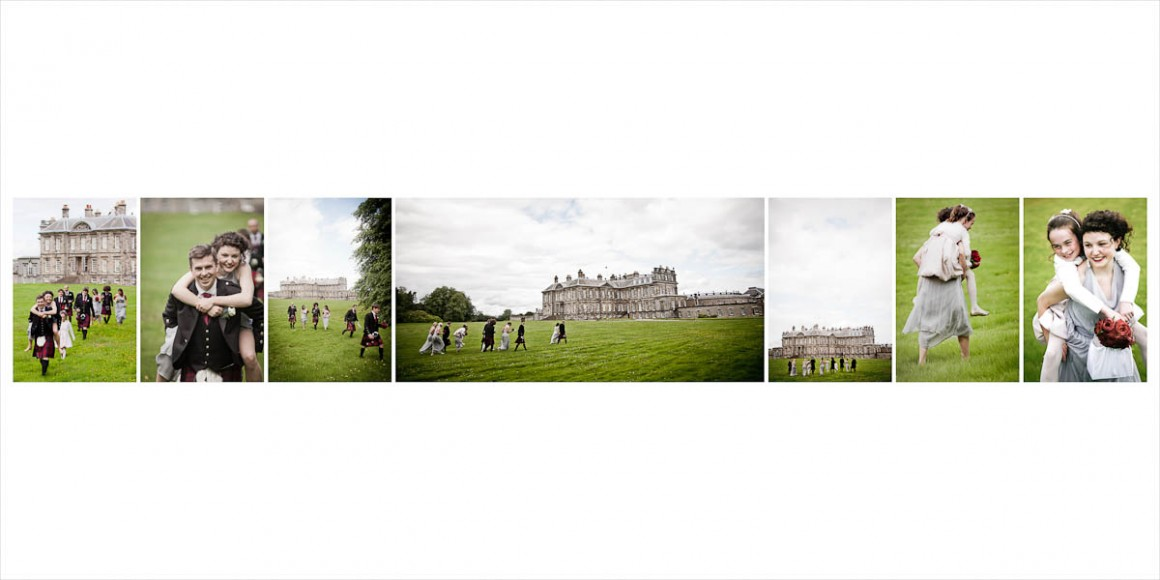 wedding party walk in grounds of hopetoun house