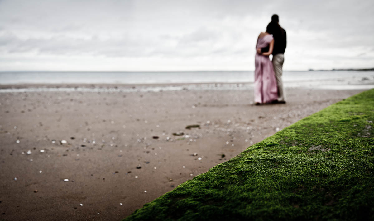 engagament photography portobello beach looking out to sea