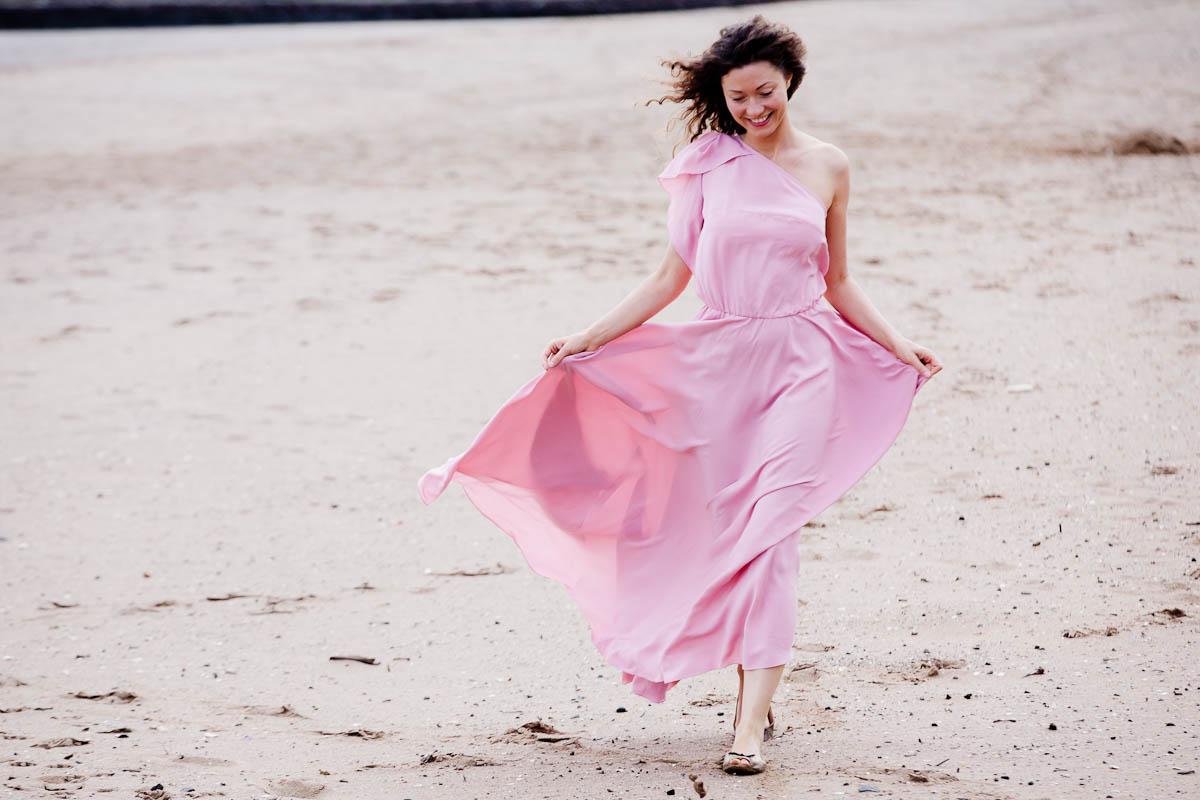 engagement photography portobello beach pink dress
