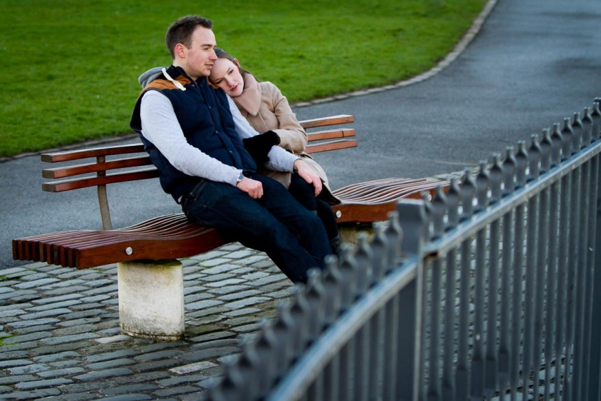 engagement photography st andrews on bench