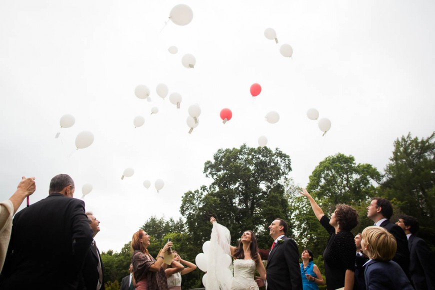 releasing balloons at wedding at drummuir castle