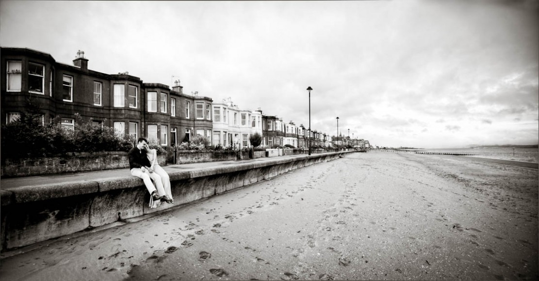 engagement photography portobello beach houses on seafront
