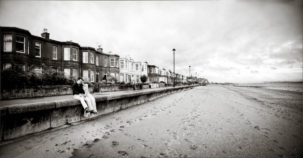 engagement photography portobello beach houses on seafront