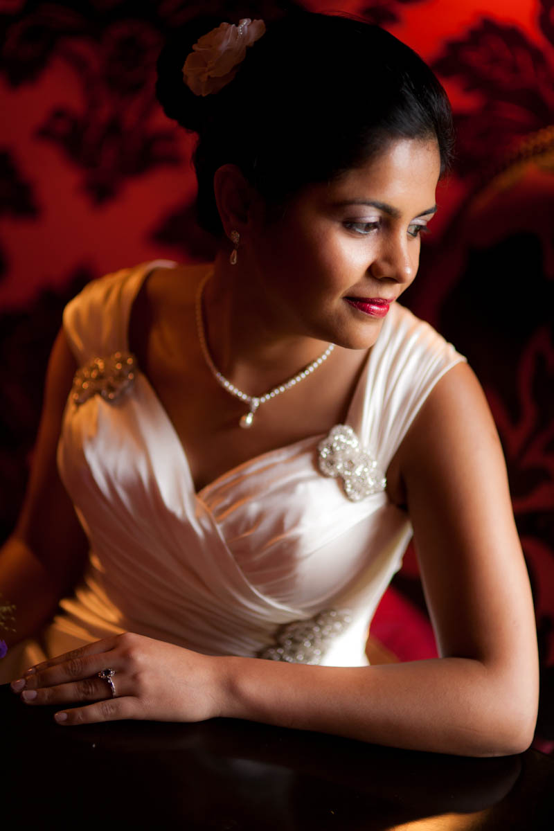 Indian bride in white dress