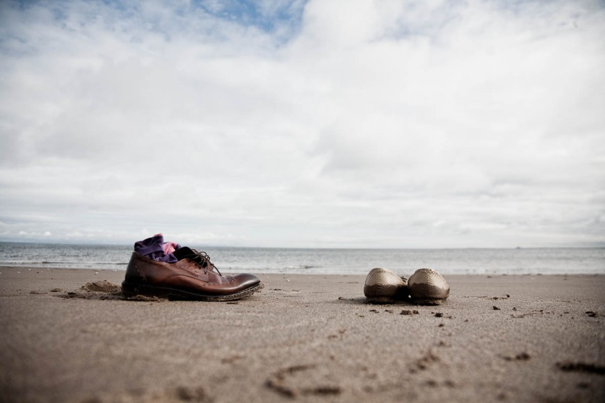 engagement photography portobello beach shoes on sand