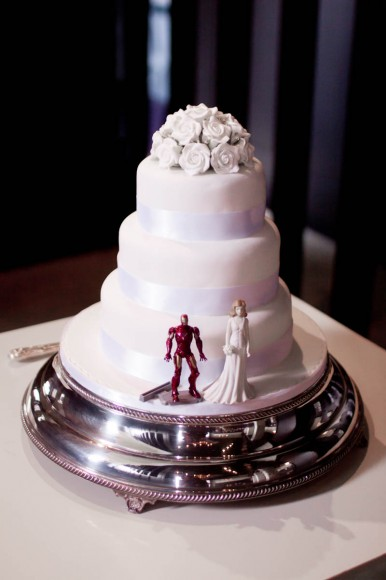 wedding cake with super hero figure