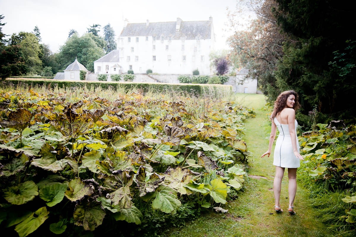 bride in garden of traquair house with rhubarb