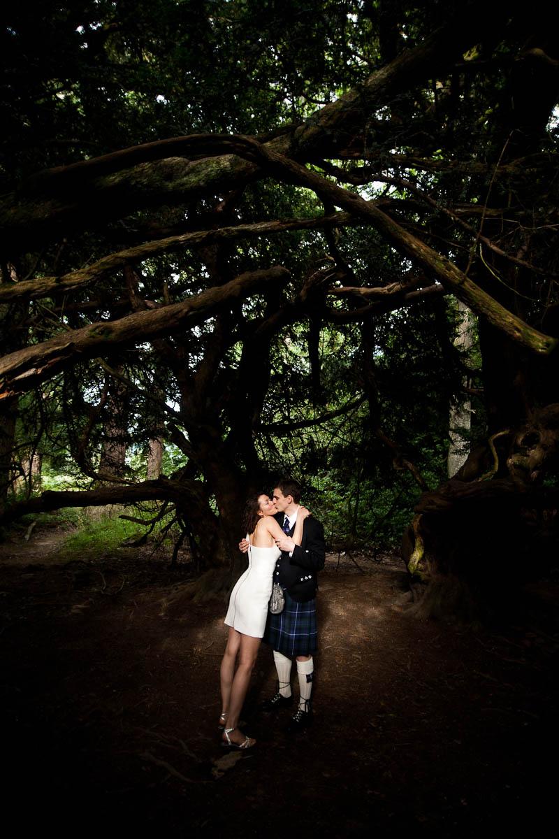 bride and groom under large tree