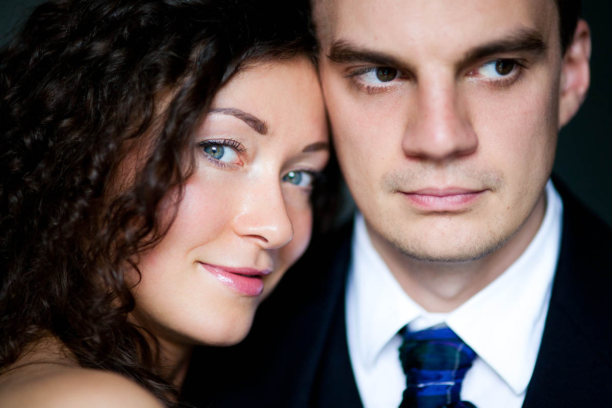 bride and groom up close portrait
