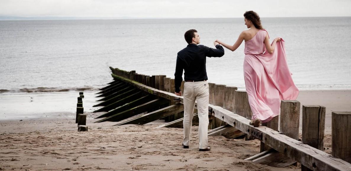 engagement photography portobello beach pier