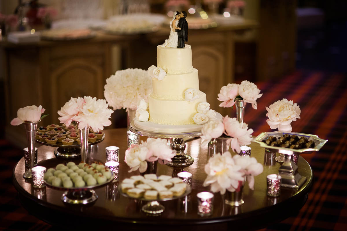 wedding cake and flowers at drummuir castle