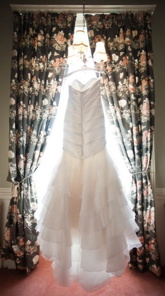 Beautiful wedding dress in the sunlight